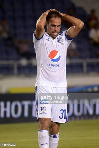 Federico Insúa of Millonarios looks dejected during a match between Uniautonoma and Millonarios as part of 13th round at Metropolitano Roberto...