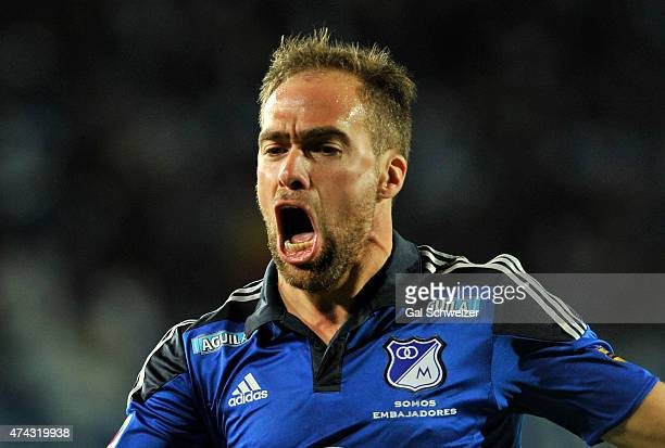 Federico Insua of Millonarios celebrates after scoring the first goal of his team during a first leg match between Millonarios and Envigado as part...