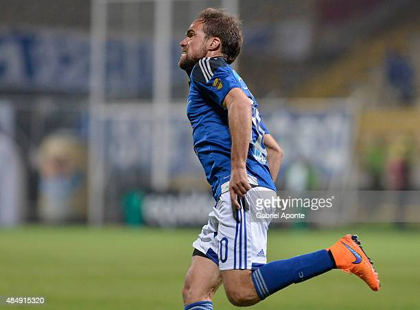 Federico Insua of Millonarios celebrates after scoring the first goal of his team during a match between La Equidad and Millonarios as part of 8th...