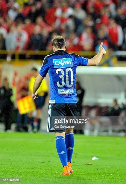 Federico Insua of Millonarios celebrates after scoring the first goal of his team during a match between Santa Fe and Millonarios as part of 10th...