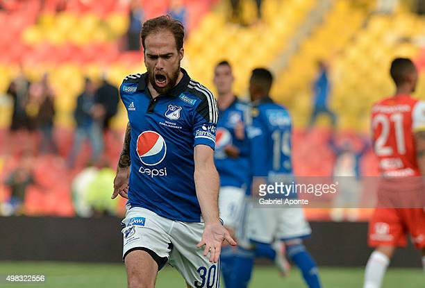 Federico Insua of Millonarios celebrates after scoring the opening goal during a match between Millonarios and Independiente Santa Fe as part of...