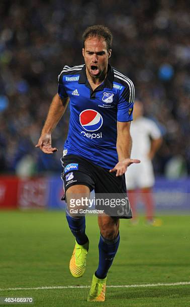 Federico Insua of Millonarios celebrates after scoring the second goal of his team during a match between Millonarios and Cucuta at Nemesio Camacho...