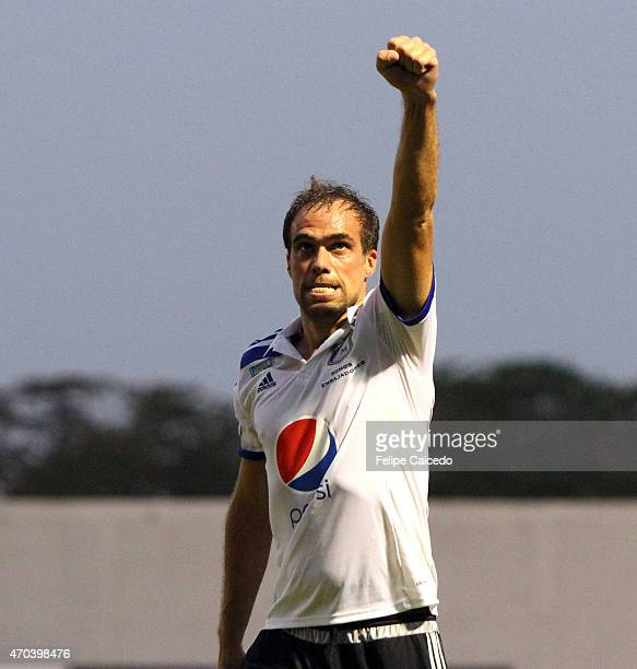 Federico Insua of Millonarios celebrates after scoring the second goal of his team during a match between Jaguares FC and Millonarios as part of 16th...