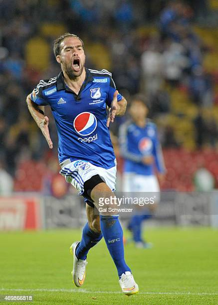 Federico Insua of Millonarios celebrates after scoring the third goal of his team during a match between Millonarios and Alianza Petrolera as part of...
