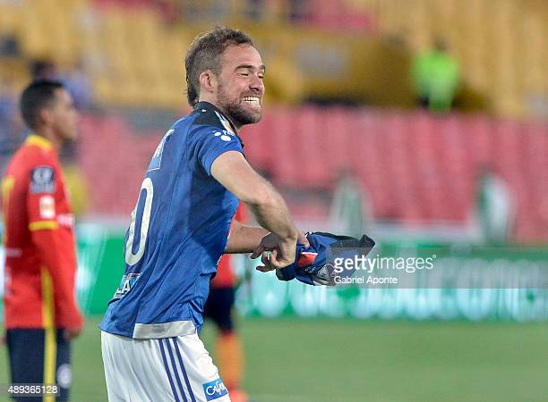 Federico Insua of Millonarios celebrates the opening goal during a match between Millonarios and Uniautonoma as part of 13th round of Liga Aguila II...
