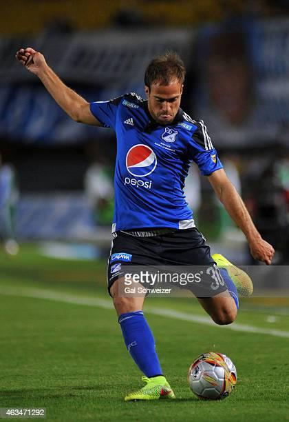 Federico Insua of Millonarios drives the ball during a match between Millonarios and Cucuta at Nemesio Camacho El Campin Stadium as part of fourth...