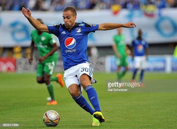 Federico Insua of Millonarios drives the ball during a match between Millonarios and La Equidad as part of eighth round of Liga Aguila I 2015 at...