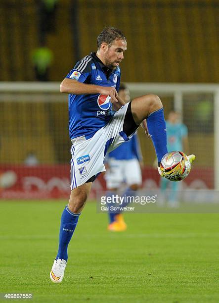 Federico Insua of Millonarios drives the ball during a match between Millonarios and Alianza Petrolera as part of 15th round of Liga Aguila I 2015 at...
