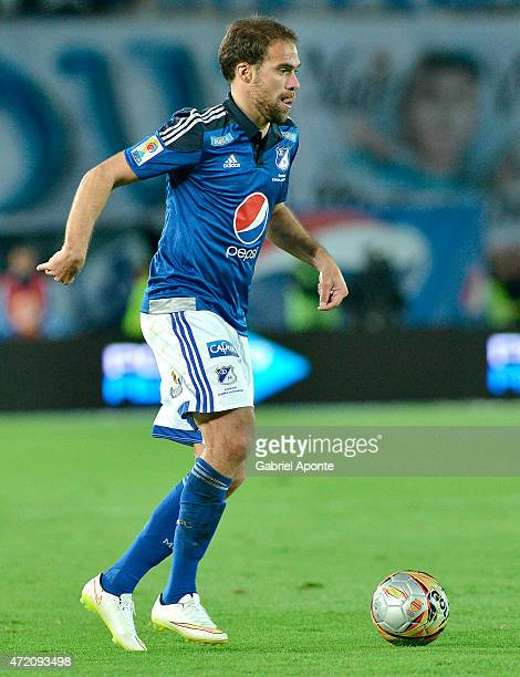 Federico Insua of Millonarios drives the ball during a match between Millonarios and Atletico Nacional as part of 18th round of Liga Aguila I 2015 at...