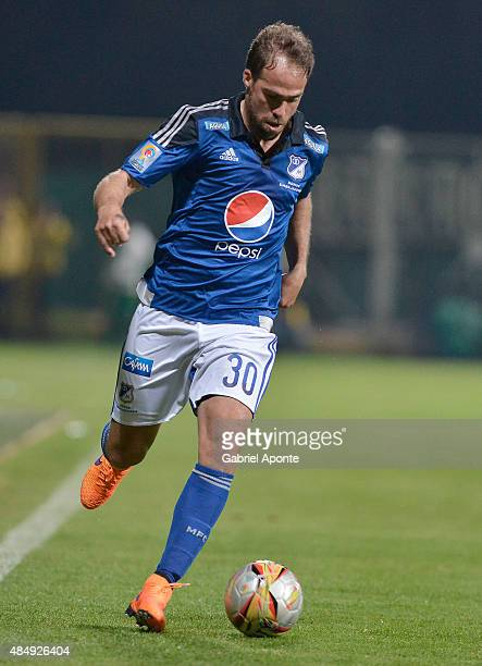Federico Insua of Millonarios drives the ball during a match between La Equidad and Millonarios as part of 8th round of Liga Aguila II 2015 at...