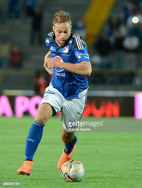 Federico Insua of Millonarios drives the ball during a match between Millonarios and Uniautonoma as part of 13th round of Liga Aguila II 2015 at...