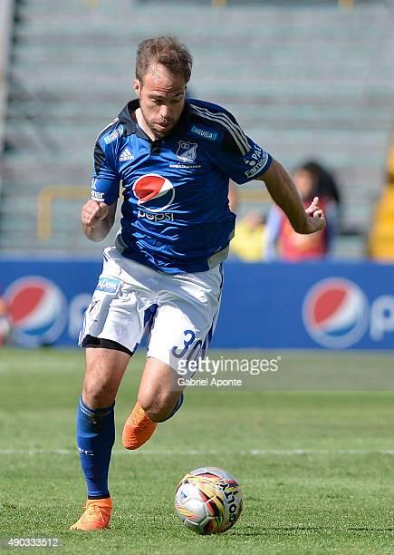 Federico Insua of Millonarios drives the ball during a match between Millonarios and Ateltico Huila as part of 14th round of Liga Aguila II 2015 at...
