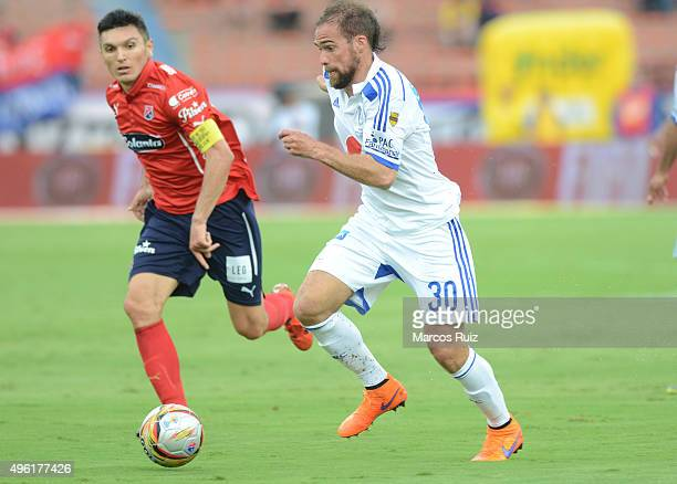 Federico Insua of Millonarios drives the ball during a match between Independiente Medellin and Millonarios as part of Liga Aguila II 2015 at...