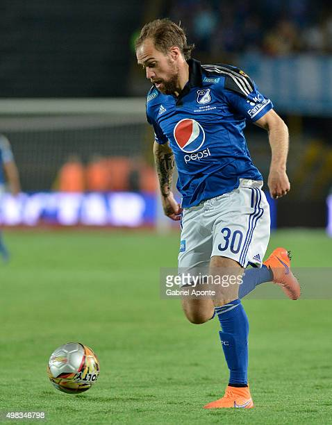 Federico Insua of Millonarios drives the ball during a match between Millonarios and Independiente Santa Fe as part of round 20 of Liga Aguila II...