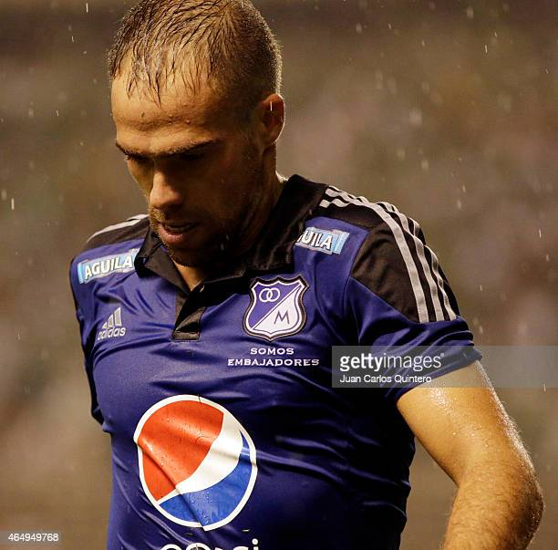 Federico Insua of Millonarios during a match between Deportivo Cali and Millonarios as part of seventh round of Liga Aguila I 2015 at Palmaseca...