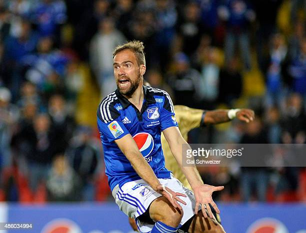 Federico Insua of Millonarios gestures during a match between Millonarios and Aguilas Doradas as part of 9th round of Liga Aguila II 2015 at Nemesio...