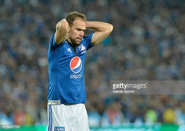 Federico Insua of Millonarios laments after missing a chance to score during a first leg match between Millonarios and Deportivo Cali as part of...