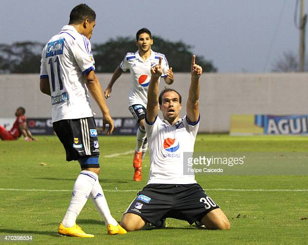 Federico Insua player of Millonarios celebrates after scoring the second goal of his team during a match between Jaguares FC and Millonarios as part...