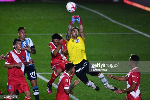 Federico Lanzillota of Argentinos Juniors makes a save during a match between Argentinos Juniors and Racing Club as part of Torneo Liga Profesional...