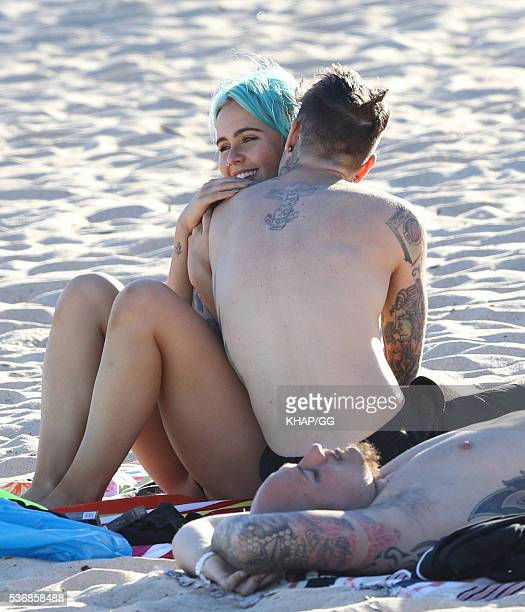 Federico Leonardo Lucia, known by his stage name Fedez, and girlfriend DJ Tigerlily are seen at Coogee Beach on May 3, 2016 in Sydney, Australia.