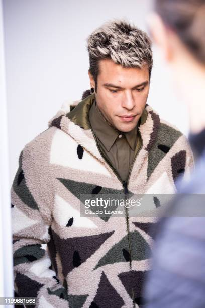 Federico Lucia aka Fedez, wearing a printed jacket, is seen outside the Fendi show during the Milan Men's Fashion Week on January 13, 2020 in Milan,...