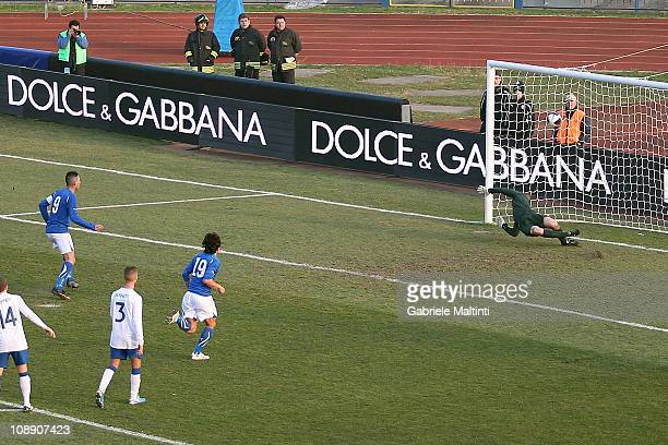 Federico Macheda of Italy scores the first goal from the penalty spot during the international friendly match between Italy U21 and England U21 at...