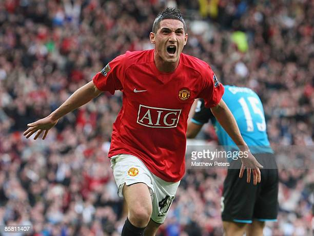Federico Macheda of Manchester United celebrates scoring their third goal during the Barclays Premier League match between Manchester United and...