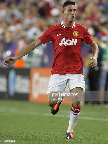 Federico Macheda of Manchester United in action during the MLS All Star match between MLS All Stars and Manchester United at Red Bull Arena on July...