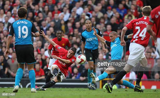 Federico Macheda of Manchester United scores their second goal during the Barclays Premier League match between Manchester United and Aston Villa at...
