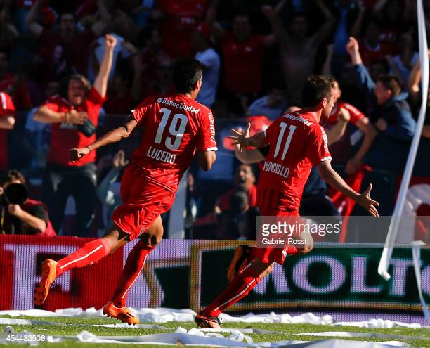 Federico Mancuello of Independiente celebrates after scoring the second goal against Racing during a match between Independiente and Racing as part...