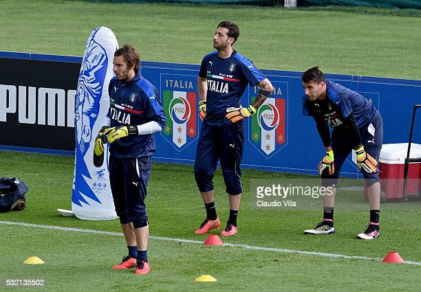 Federico Marchetti Antonio Mirante and Marco Sportiello in action during the Italy training session at the club's training ground at Coverciano on...
