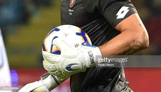 Federico Marchetti goalkeeper of Genoa with the Serie A ball during the serie A match between Genoa CFC and Empoli at Stadio Luigi Ferraris on August...