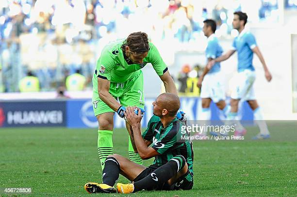Federico Marchetti goalkeeper of SS Lazio shakes hand with Simone Zaza of US Sassuolo Calcio during the Serie A match between SS Lazio and US...