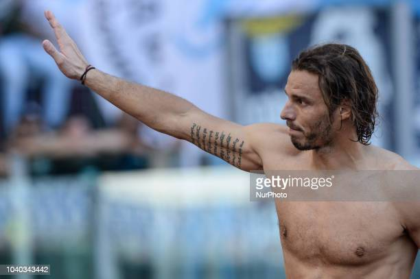 Federico Marchetti greets Curva Nord the Italian Serie A football match between SS Lazio and Genoa at the Olympic Stadium in Rome on september 23 2018