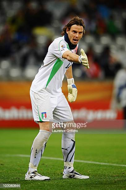 Federico Marchetti of Italy directs his defence during the 2010 FIFA World Cup South Africa Group F match between Italy and Paraguay at Green Point...