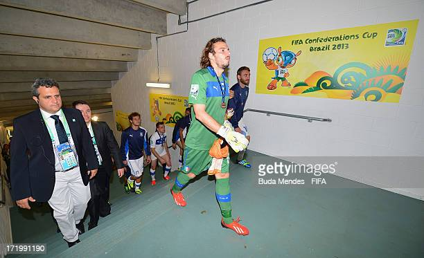 Federico Marchetti of Italy heads for the dressing room after the FIFA Confederations Cup Brazil 2013 3rd Place match between Uruguay and Italy at...