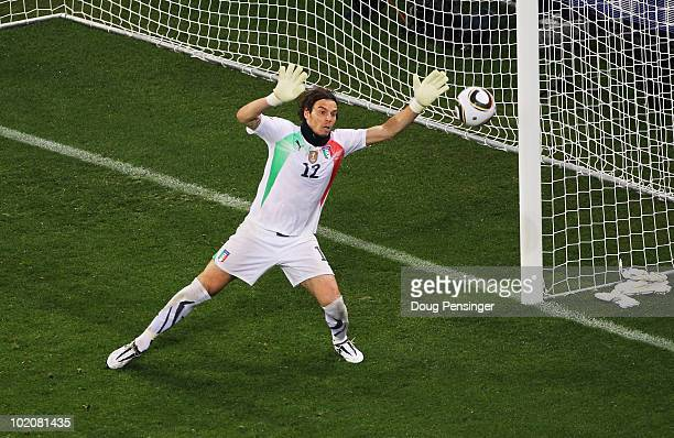 Federico Marchetti of Italy makes a save during the 2010 FIFA World Cup South Africa Group F match between Italy and Paraguay at Green Point Stadium...