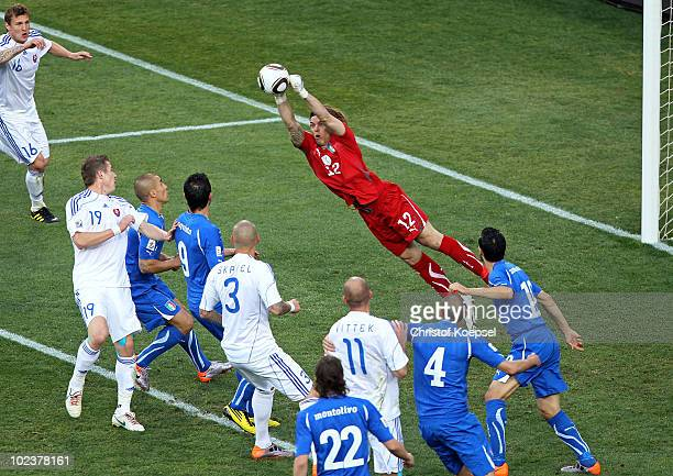 Federico Marchetti of Italy makes a save during the 2010 FIFA World Cup South Africa Group F match between Slovakia and Italy at Ellis Park Stadium...