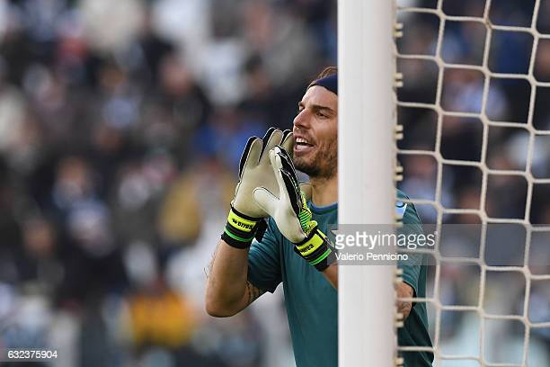 Federico Marchetti of SS Lazio issues instructions during the Serie A match between Juventus FC and SS Lazio at Juventus Stadium on January 22 2017...