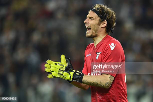 Federico Marchetti of SS Lazio reacts during the Serie A match between Juventus FC and SS Lazio at Juventus Arena on April 20 2016 in Turin Italy