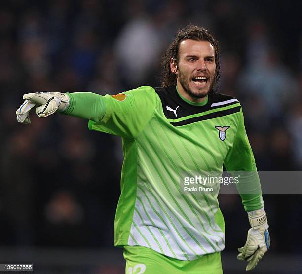 Federico Marchetti the goalkeeper of SS Lazio shouts during the UEFA Europa League Round of 32 match First Leg between SS Lazio and Club Atletico de...