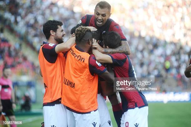 Federico Mattiello of Bologna FC celebrates after scoring the opening goal during the serie A match between Bologna FC and AS Roma at Stadio Renato...