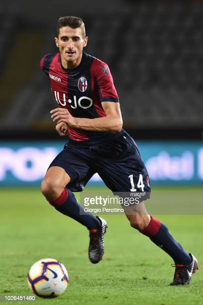 Federico Mattiello of Bologna FC controls the ball during the serie A match between Frosinone Calcio and Bologna FC at Olimpico Stadium on August 26...