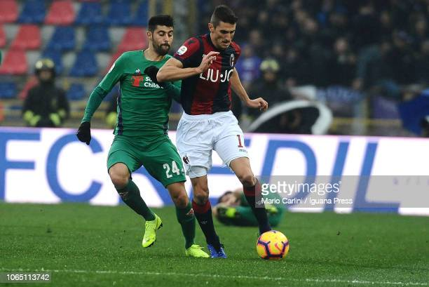 Federico Mattiello of Bologna FC in action during the Serie A match between Bologna FC and ACF Fiorentina at Stadio Renato Dall'Ara on November 25...