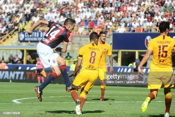 Federico Mattiello of Bologna FC scores the opening goal during the serie A match between Bologna FC and AS Roma at Stadio Renato Dall'Ara on...