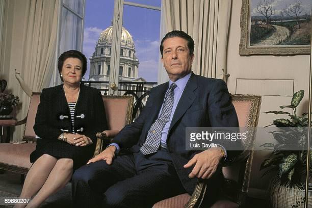 Federico Mayor Zaragoza general secretary of the UNESCO next to his wife