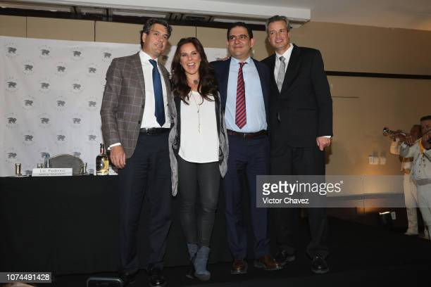 Federico MerySanson actress Kate del Castillo Alejandro Rojas Pruneda and Humberto Ferro Baranda attend a press conference at Club 51 on December 20...