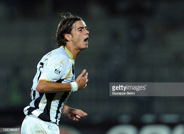 Federico Moretti of Ascoli celebrates after scoring the 22 equalising goal during the Serie B match between Ascoli Calcio and FC Crotone at Stadio...