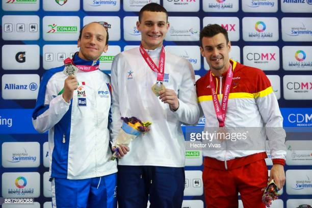 Federico Morlacchi of Italy Dimosthenis Michalenzakis of Greece and Jose Antonio Mari of Spain pose after the Men's 100m Butterfly S9 Final during...