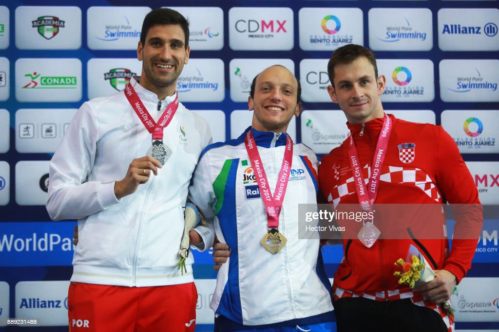 Federico Morlacchi of Italy Gold Medal, David Grachat of Portugal Silver Medal and Kristijan Vincetic of Croatia Bronze medal pose after men's 400 m Freestyle S9 celebration during day 7 of the Para Swimming World Championship Mexico City 2017 at Francisco Marquez Olympic Swimming Pool. on December 7, 2017 in Mexico City, Mexico.